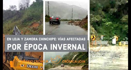 Vías de Loja y Zamora Chinchipe afectadas por época invernal. Foto: Crónica