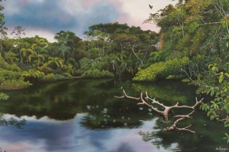 NATURALEZA. 'Amanecer en el río Cuyabeno' es la obra de Ana Piyahuaje, una artista autodidacta. Foto: La Hora