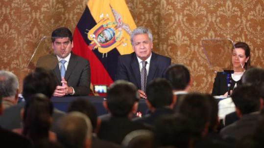 Quito (Pichincha), 04 de abril del 2019.- El Presidente de la República, Lenín Moreno, participó de la reunión con los diferentes alcaldes electos de todas las provincias del país. Foto: La República