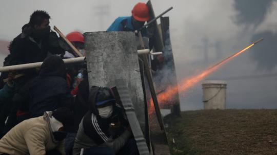 Protestas en contra de las medidas económicas del Gobierno. Foto tomada durante la jornada del domingo del 13 de octubre de 2019. Foto: Primicias