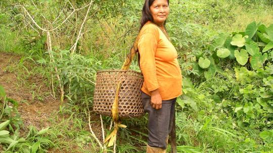 Algunos pobladores de la Amazonía utilizan a diario el machete y las botas de caucho para sus actividades.