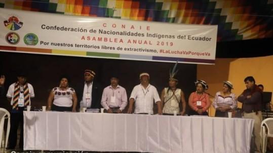 La Confederación de Nacionalidades Indígenas del Ecuador, CONAIE, realizo su Asamblea Anual Ordinaria 2019 este viernes 23 de agosto en la comunidad Rukullakta, en Archidona, Napo. API. Foto: (La República)