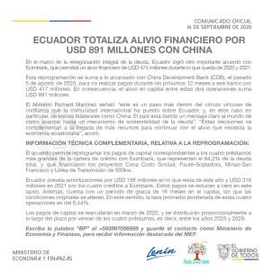Ecuador obtiene alivio financiero por $ 891 millones con China / Cortesía del Ministerio de Finanzas