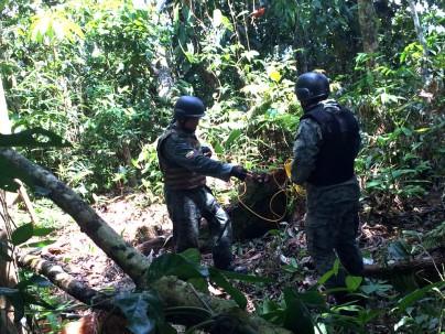 Se procedió a delimitar el lugar para realizar trabajos de desminado humanitario. Foto: Comando Conjunto de las FF.AA. Foto: Ecuavisa