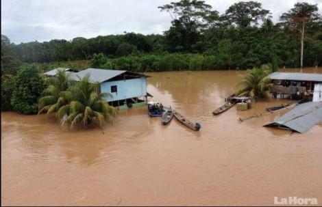 El desbordamiento de ríos, por las fuertes precipitaciones, han afectado a localidades de Morona. Foto: La Hora
