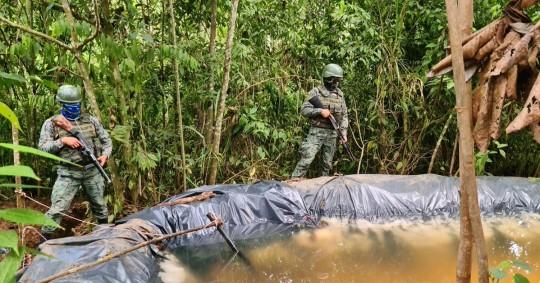 Soldados descubrieron conexiones clandestinas en el SOTE y una piscina artesanal / Foto: cortesía Fuerzas Armadas