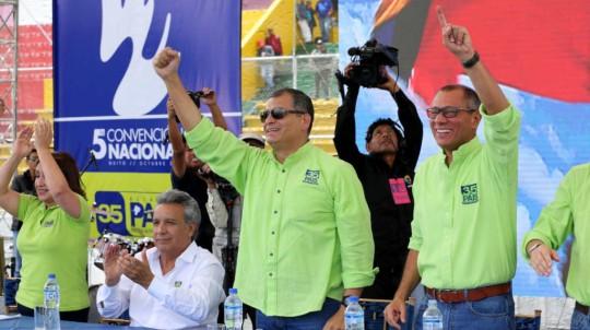 Doris Solíz, Lenín Moreno, Rafael Correa y Jorge Glas en la Quinta Convención del movimiento oficialista. Foto: Primicias