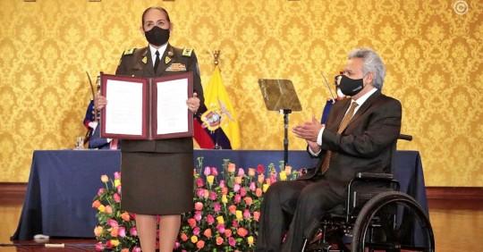 La generala Varela dirigirá la Policía de Ecuador en el último tramo del mandato de Lenín Moreno / Foto: Cortesía de la Presidencia