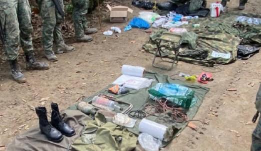Fuerzas Armadas localizan otro campamento abandonado en Sucumbíos / Foto: Cortesía Fuerzas Armadas
