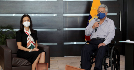 Lenín Moreno se reunió con la jefa de misión electoral de la OEA / Foto EFE