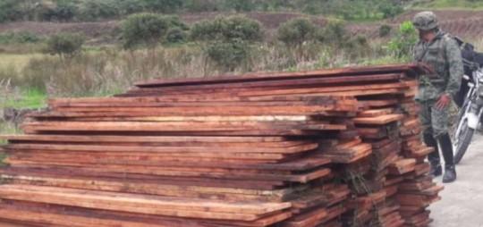 La madera fue incautada por personal de las Fuerzas Armadas. Foto: El Telégrafo