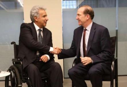 Cita. El presidente Moreno junto a David R. Malpass. Foto: La Hora