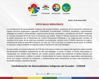 """La Conaie impulsará el """"voto nulo ideológico"""" / Foto EFE"""
