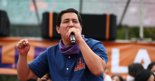 Andrés Arauz cerró su campaña con una fiesta en el Parque del Arbolito / Foto EFE