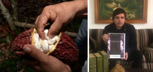 Por lo menos una variedad de Theobroma Cacao tiene su origen en la Alta Amazonía y ha sido utilizada en la región por más de 5.000 años. En la gráfica derecha, ?Roberto Ordóñez muestra la portada de su libro que presentará a mediados de este mes de mayo.  Foto: El Telégrafo