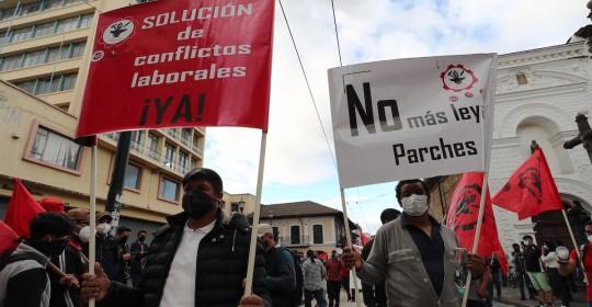 Sindicatos e indígenas realizaron la primera manifestación contra el gobierno de Guillermo Lasso / Foto: EFE