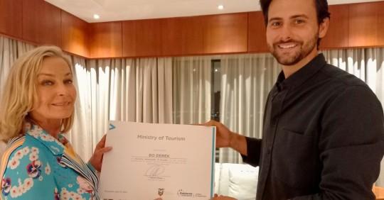 Bo Derek es nombrada embajadora turística de Ecuador/ Foto: EFE