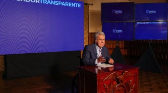 Durante una cadena nacional, el presidente Lenín Moreno habló sobre las acciones que tomará el Gobierno frente a las denuncias de corrupción. Foto: Twitter Lenín Moreno