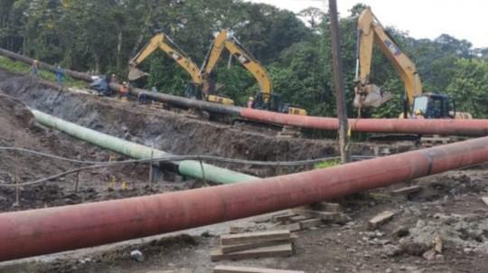 Los trabajos de reparación del SOTE terminaron el 2 de mayo. - Foto: Petroecuador/Twitter