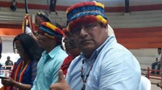 Jaime Vargas, presidente de la Conaie, en Macas, Morona Santiago. Imagen publicada en su cuenta de Twitter el 19 de octubre del 2019. Foto: El Comercio