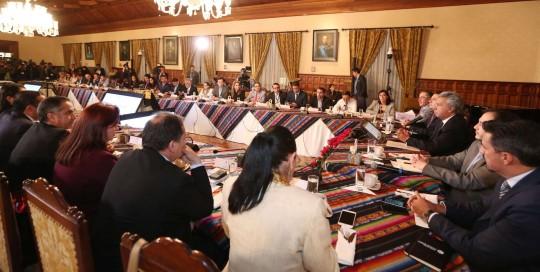 Hasta el cierre de esta edición, el Presidente estaba reunido con sus ministros en el Palacio de Carondelet. Foto: La Hora