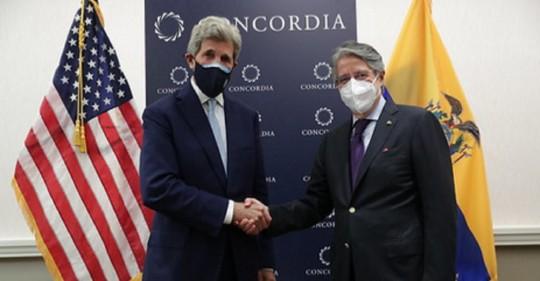 Guillermo Lasso se reunió con John Kerry en Nueva York / Foto:  cortesía Presidencia