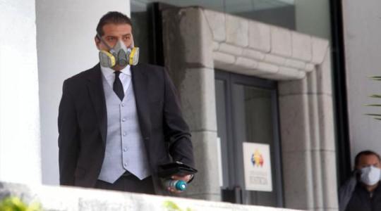 Harrison Salcedo, defensor de Jorge Glas, mientras deja la Corte Nacional de Justicia. Foto: Diego Pallero / EL COMERCIO