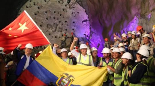 En enero, los funcionarios de Gobierno celebraron la terminación de una parte del túnel de conducción de la central. Foto: Diego Pallero/ Archivo EL COMERCIO