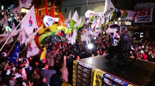 Foto: Primicias/ El 22 de enero el presidente Moreno hacía campaña por la consulta popular en Quito.