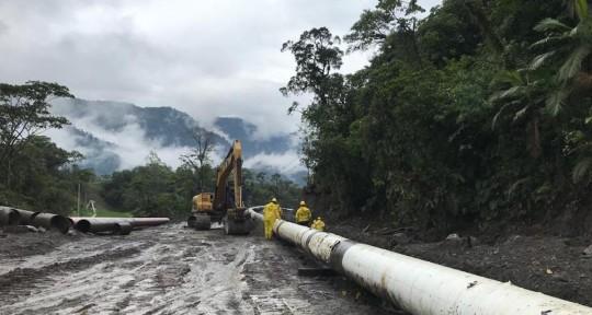 El Sote paralizó sus actividades por erosión del río Coca / Foto cortesía Petroecuador