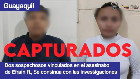 Dos personas fueron detenidos en el caso del asesinato de Efraín Ruales  / Foto: Policía Nacional