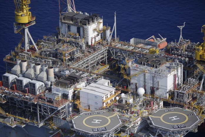 Helipads are seen aboard the Chevron Corp. Jack/St. Malo deepwater oil platform in the Gulf of Mexico off the coast of Louisiana, U.S., on Friday, May 18, 2018. Photo: Forbes