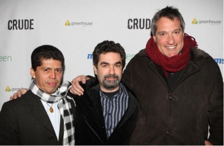 In happier days, Ecuadorean Attorney Pablo Fajardo, filmmaker Joe Berlinger and then-attorney Steven Donziger attend the Sundance Greenhouse after-party for the film Crude, Sunday, Jan. 18, 2009 in Park City, Utah. (AP Photo/Shea Walsh) ASSOCIATED PRESS