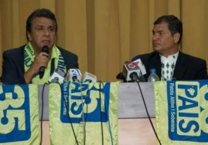 Lenin Moreno and Rafael Correa.  Ángel Polibio Córdova, CEDATOS's owner, said that never in the more than 40 years that it has conducted exit polls were the final results so different from the exit poll. Foto: Latinvex