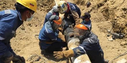 Petroecuador realiza actividades de limpieza tras derrame en Pascuales / Foto: cortesía Petroecuador