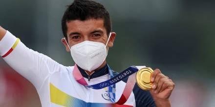 Ecuador conquistó su segundo oro olímpico de la mano de Carapaz / Foto: EFE