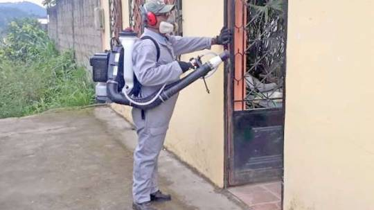 PREVENCIÓN. Personal fumigó en varios sectores como parte de la minga. Foto: La Hora