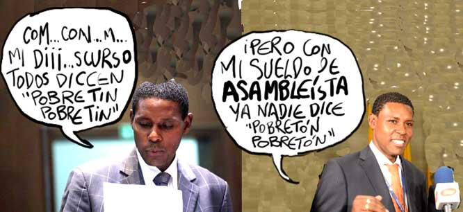 "Cartoonist Xavier Bonilla faces a lawsuit over this satirical cartoon published in ""El Universo"" because it hurt the sensibilities of Rafael Correa's government in Ecuador. (Xavier Bonilla/El Universo)"
